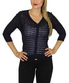 This Navy Scallop-Stitch Button-Up Cardigan is perfect! #zulilyfinds