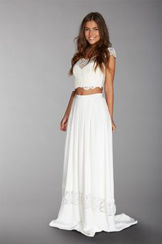 Fabienne Alagama crop top and dreamy skirt / / wedding dress 2016 Bridal Outfits, Bridal Dresses, Bridesmaid Dresses, Fancy Wedding Dresses, Boho Wedding Dress, 15 Dresses, Dress Outfits, Wedding Crop Top, Crop Top Dress