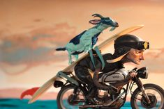 The Man Guide - Surf Chris Sickels Red Nose Studio Character Inspiration, Character Design, Cafe Racer Motorcycle, Red Nose, Stop Motion, Illustrations Posters, Vintage Posters, Old School, How To Draw Hands