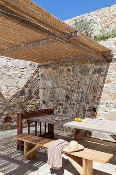 Coco-Mat Eco Resdences in Serifos Island, Aegean sea. Deck With Pergola, Pergola Shade, Pergola Patio, Cheap Pergola, Covered Pergola, Porches, Outdoor Spaces, Outdoor Living, Gazebos