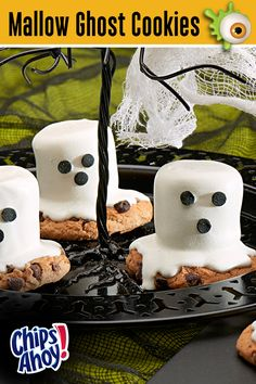 Spookify your party snacks with these treats! CHIPS AHOY! Mallow Ghost Cookies are hauntingly tasty and easy to make - perfect for any Ghostly Gathering this Halloween! Visit GhostessParty.com for more recipes, Halloween party ideas & printables.