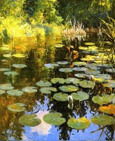 "Frank Weston Benson (American painter: 1862 – 1951) | ""Lily Pond"" 1923"