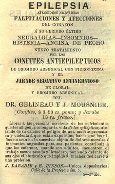 Medicamento contra la epilepsia. Calendario curioso para el año de 1879 : arreglado al meridiano de México. (R)/529.4 CAL.cu.879. Colección de Calendarios Mexicanos del Siglo XIX. Fondo Antiguo. Biblioteca del Instituto Mora, México. Medication against epilepsy. Curious calendar for the year 1879: arranged to the meridian of Mexico. (R) /529.4 CAL.cu.879. Collection of Mexican Calendars of the 19th Century. Old Background. Library of the Mora Institute, Mexico.