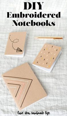 DIY Embroidered Notebooks Dear Handmade Life - handgemachte Bücher - Bookbinding - The Dallas Media Notebook Diy, Handmade Notebook, Handmade Books, Handmade Crafts, Pocket Notebook, Notebook Design, Handmade Ideas, Handmade Decorations, Pot Mason Diy