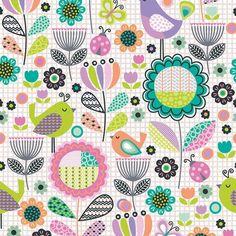 Fabri-Quilt - Tweet Floral Birds Cream - cotton fabric