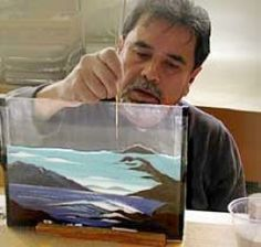 David Alcala - fused plates - glass frit sand technique - Best class I ever took on Glass Fusing