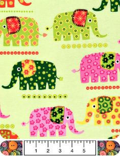 Funky Elephant Cotton Flannel Patterned Yellow Green by LuckyAttic