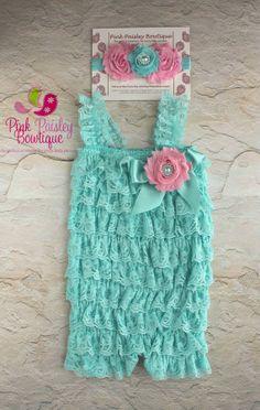 Lace Petti Romper - 3 pc SET- Aqua & Pink Petti Romper- Ruffle Romper -Baby Girl Rompers -Ruffle Rompers - 1st Birthday Outfit - Baby Romper on Etsy, $34.99