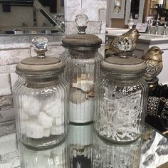 Add just a touch of bling with these versatile jars in the bathroom or kitchen to take it up a notch Bathroom Canisters, Q Tip Holder, Bling Bathroom, Bathroom Wall Shelves, Kitchen Jars, Glass Jars With Lids, Home Garden Design, Bath Accessories, Amazing Bathrooms