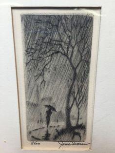 Vintage James Swann Rain signed etching art artist