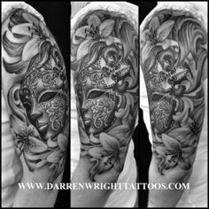 Venetian mask black and white tattoo