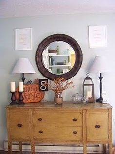 Great Entry Hall Decorations and sideboard