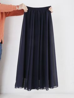 Wholesale Women Chiffon Long Skirts Candy Color Pleated Maxi Skirts Spring Summer Skirts M L XL 17Colors