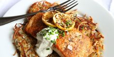 Seared Salmon with Potato Pancakes and Yogurt Sauce