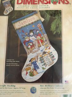 Dimensions Best Gifts Stocking Deb Strain Stamped Cross Stitch NIP Made USA Xmas | eBay