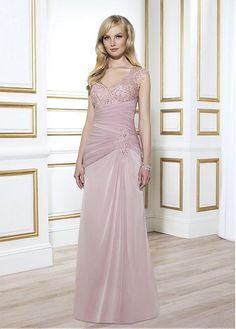 Buy discount Romantic Chiffon Sheath V-neck Floor-length Mother of the Bride Dresses with Rhinestones at Dressilyme.com
