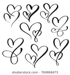 Set Two lovers heart. Decor for greeting card, photo overlays, t-shirt print, flyer, poster design Schrift Tattoos, Tattoos For Daughters, Calligraphy Letters, Arabic Calligraphy, Tattoo Inspiration, Small Tattoos, Design Elements, Hand Lettering, Tatting