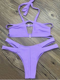 AD : Side Strap Cut Out Halter Bikini - PURPLE M   Swimwear Type: Bikini   Gender: For Women   Material: Nylon,Polyester,Spandex   Bra Style: Bralette   Support Type: Wire Free   Collar-line: Halter   Pattern Type: Solid   Waist: Low Waisted   Elasticity: Elastic   Weight: 0.2000kg   Package: 1 x Top 1 x Bottoms