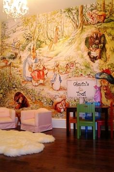 Kids are creative, and the spaces they play in should be too! Check out this beatrix potter themed playroom! http://www.muralsyourway.com/rooms/kids-bedrooms-murals/