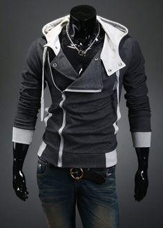 Mens Hoodies Zipper Studs Embellished Polyester Street Style Side Zipper 9181501 - Sweatshirts, Hoodies