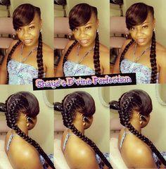 Goddess Braids with Bangs - HairStyles - - Braid Recipes - Kids Braided Hairstyles, Black Women Hairstyles, Hairstyles With Bangs, Goddess Hairstyles, Protective Hairstyles, Protective Styles, Black Girl Braids, Girls Braids, 2 Braids
