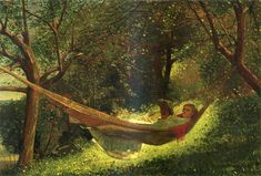 Homer Winslow (1836-1910) -Girl in a Hammock -  Oil on canvas, 1873 - #ARTEmisiaLegge - @Libriamo Tutti