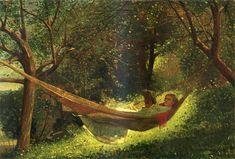 Homer Winslow (1836-1910) -Girl in a Hammock -  Oil on canvas, 1873 - #ARTEmisiaLegge - @Libriamo Tutti