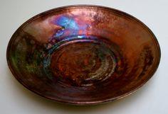 "Raku Bowl, 14"". black copper lustre interior, crackle white outside, very shallow."