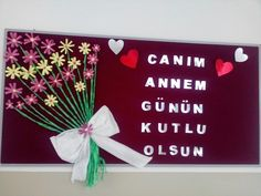 Anneler günü Mather Day, Pre School, Letter Board, Classroom, Diy Crafts, Education, Projects, Ladies Day, Craft