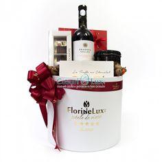 Cos cadou Wine & Sweets, creat intr-o cutie rotunda marca FlorideLux cu 2 cutii & Ferrero Rocher, Christmas Goodies, Xmas