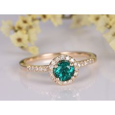 5mm Round Cut Lab Emerald and Diamond Engagement Ring 14K Yellow Gold Halo Stacking Ring