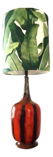 Vintage Mid-Century Modern Drip Glazed Lamp With Tall Banana Leaf Shade on Chairish.com