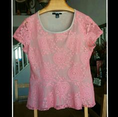Peplum Top by Style & co. This is a lace peplum top. The back is slightly longer than the front. It is a size pxl. It is made by Style & Co. Style & Co Tops