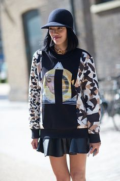 Horseriding hat with boxy sweater over flared skirt  (London Fashion Week Street Spring 2014)