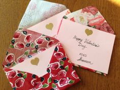 making envelopes from fabric and mod podge