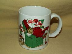 Santa Mug Otagiri Christmas Holiday Claus Elf Elves Chair Cup Raised Relief Vntg #Otagiri