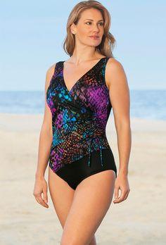 e5a6c7ce97980 Longitude Cheating Cheetah Plus Size Surplice Swimsuit Plus Size Swimwear