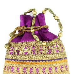 Purple Art Silk Potli Bag