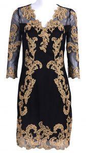 Black Three Quarter Length Sleeve Gold Silk Embroidery Dress $73.7