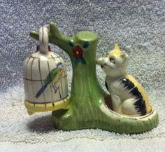Vintage Rare Cat Bird Tree Salt Pepper Shakers