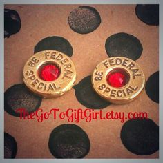 Badass Bullet Earrings {now available} in Ruby Red! Perfect for #RedFriday or #ValentinesDay! TheGoToGiftGirl.etsy.com   #SupportOurTroops #Army #Navy #AirForce #CoastGuard #NationalGuard #Marines #Military #MilSO #July #Birthstone #Gift #Etsy #EtsyShop #OnFridaysWeWearRed