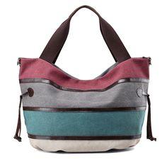 Sale 16% (34.89$) - Multifunction Women Large Capacity Canvas Patchwork Crossbody Bag