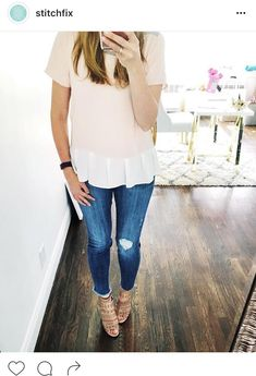 Stitch fix stylist - I love this entire look. Distressed jeans and soft date night shirt.