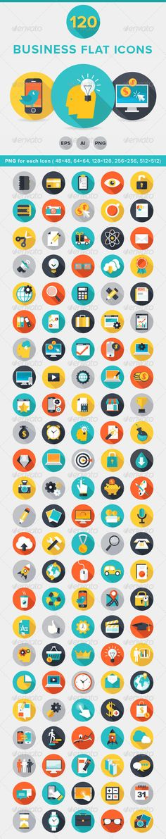 Flat Icons - 120+ Business Flat Icons | DailyDesignMag by Daily Design Mag, via Behance  business, communications, design, documents, e-commerce, education, flat, flat icons, graphic design, icons, icons bundle, medical, multimedia, round, shopping, vector, web
