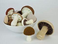 PDF Mushroom Collection: six realistic CROCHET PATTERNS