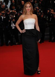 Jennifer Lawrence in Christian Dior, Charlotte Olympia clutch and Chopard jewelry