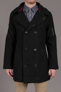 Projek Raw Double Breasted Wool Peacoat w Knit Collar