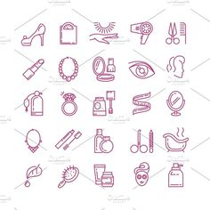Vector cosmetics line icons by Microvector on @creativemarket