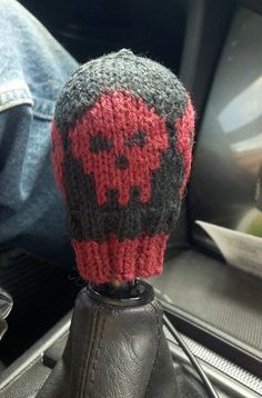 Free Knitting Pattern for Highway to Hell Shifter Cozy - This skull motif shift stick cover was designed by Cindy Murdock Ames