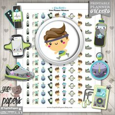 Run Planner Stickers by www.YupiYeiPapers.Etsy.com